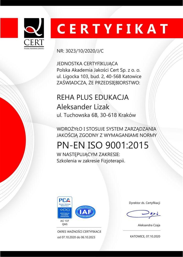 Certyfiakt ISO dla Reha Plus